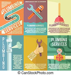 Plumbing icons composition poster - Plumber service flat...