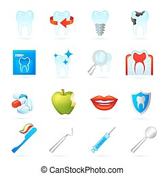 Dental Icons Set - Dental icons set with dentistry surgeon...