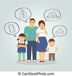 Family Dreaming Flat - Family with parents and girl and boy...