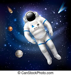 Astronaut In Space - Professional spaceman astronaut in...