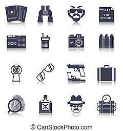 Spy gadgets black icons set - Spy agent gear gadgets and...