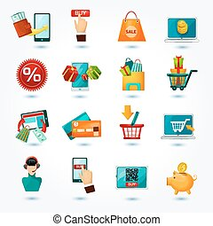 E-commerce Icons Set - E-commerce internet delivery online...