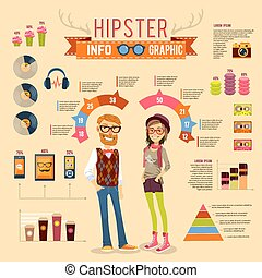 Hipster Infographic Set - Hipster infographic set with boy...