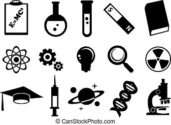 Science Education Vector Icon Set - Vector illustration of...