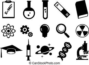 Ciencia, educación, vector, icono, Conjunto,