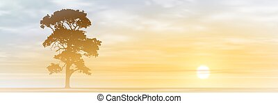 Lone Tree - A Lone Tree with Misty Sunset, Sunrise Vector...