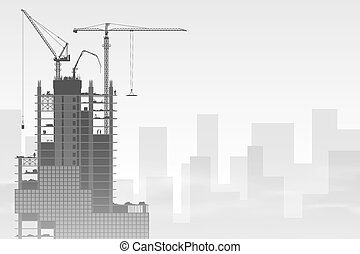 Tower Cranes - A Construction Site with Tower Cranes. Vector...