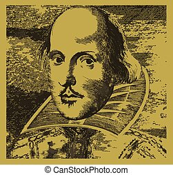 William Shakespeare - A woodcut type image of the British...