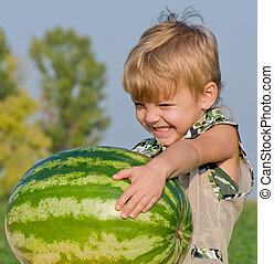 Little boy with watermelon - Little boy watermelon in his...