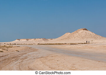 Remote empty sand filled desert in the middle east