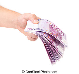 Hand holding euro banknotes.