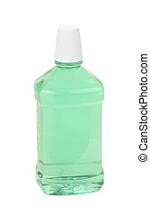 Mint Mouthwash - Bottle of mint green mouthwash isolated on...