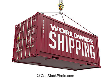 World Wide Shipping on Brown Metal Container. - World Wide...