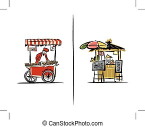 Street sellers, sketch for your design. Illustration about Turkey and Thailand.