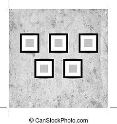 Retro picture frames on grunge wall for your design