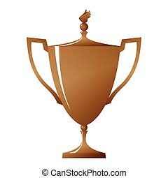 Cup of winner, bronzed trophy cup, vector illustration - Cup...