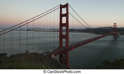 Time lapse Golden Gate Bridge - Time lapse close up twilight...