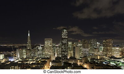 Time lapse San Francisco night - Time lapse of downtown San...