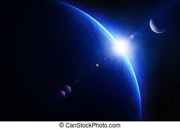 terra, amanhecer, com, lua, em, espaço,
