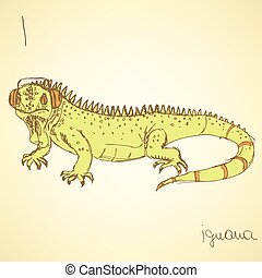 Sketch fancy iguana in vintage style, vector