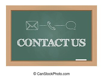 Contact us message on chalkboard
