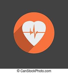 Defibrillator heart icon - Defibrillator white heart icon...