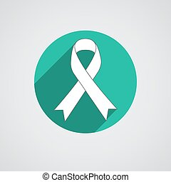 Breast cancer awareness teal single ribbon isolated on white...