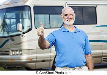 RV Senior Man - Thumbs Up - Senior man in front of his...