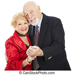 Romantic Senior Dance - Beautiful senior couple in love,...