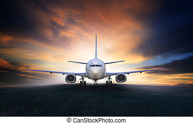 air plane preparing to take off on airport runways use for...