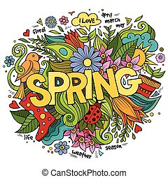 Spring hand lettering and doodles elements. Vector...