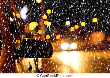 night street in the winter - detail of a car in the...
