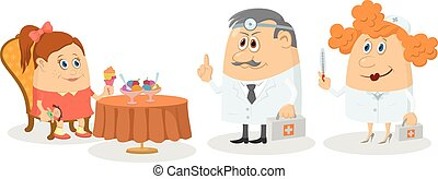 Girl near table with ice-cream and doctors