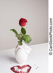 Rose with Card in German Für meinen Schatz