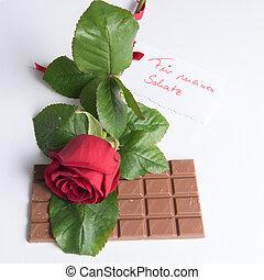 Rose and chocolate with Card in German Für meinen Schatz