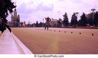 man rollerblading in Moscow Exhibition Center HD 1920x1080 -...