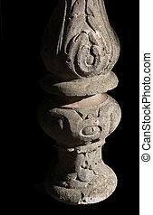 Decorated stone pillar, probably moorish style, Mallorca,...