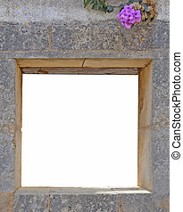 Stone Wall Opening with pink flower Mallorca, Balearic...