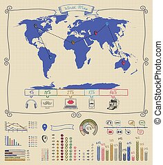 Pen Drawing Warld Map. Infographics - Pen Drawing Warld Map....