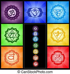 Seven Chakras collage - illustration of seven Chakras...