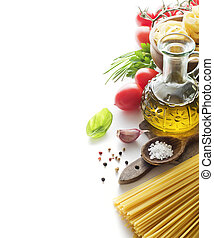 Pasta ingredients - Raw Pasta with ingredients isolated on...