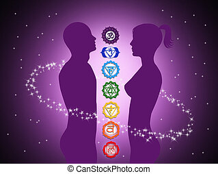 Seven Chakras - illustration of seven Chakras