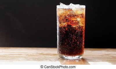Cola bubble with ice and glass - Set collection montage,...