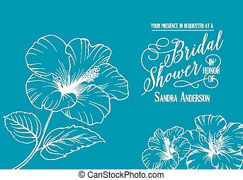 Bridal shower invitation with exotic flowers. Vector...