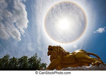 Sun with circular rainbow - sun halo