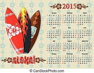 Vector Aloha calendar 2015 with surf boards