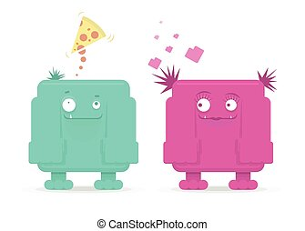 Vector monster couple, funny cartoon for St Valentines Day -...
