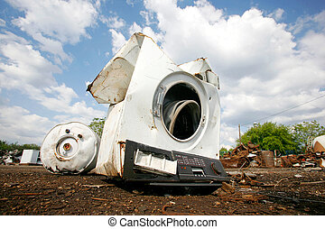 old washing machine - Old household appliances disposed of...