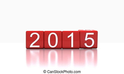 new year 2016 - Video 3D animation - dice with new year 2016