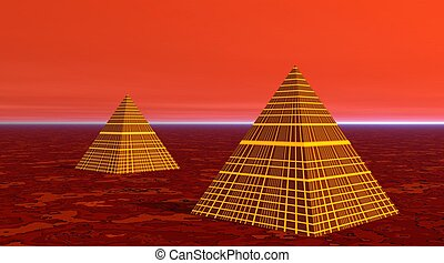 Two pyramids in red desert